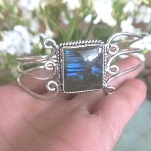 Blue Fire Labradorite Sterling Silver Cuff Bracele